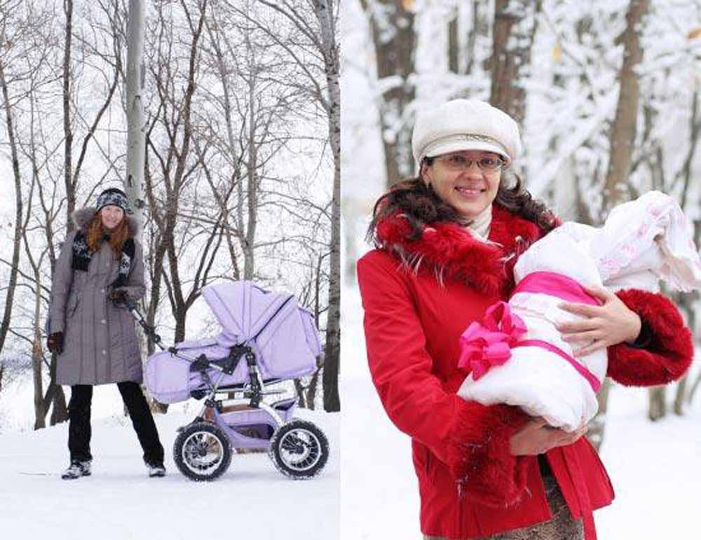 первые прогулки с новорожденным зимой